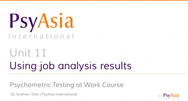 Unit 11 - Using job analysis results