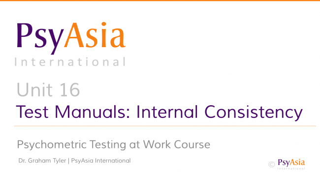Unit 16 - Test manuals - internal consistency