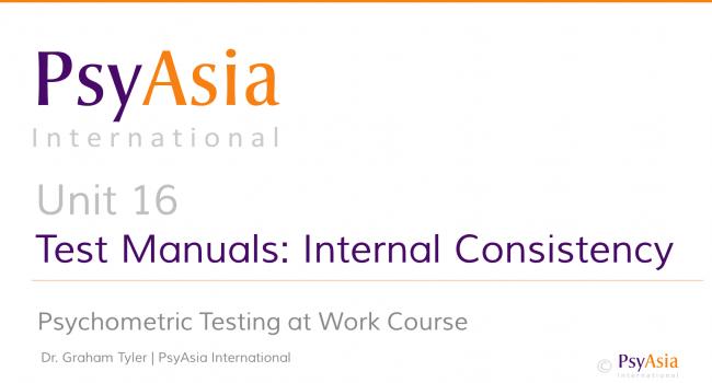 Unit 16 - Test manuals - internal consistency