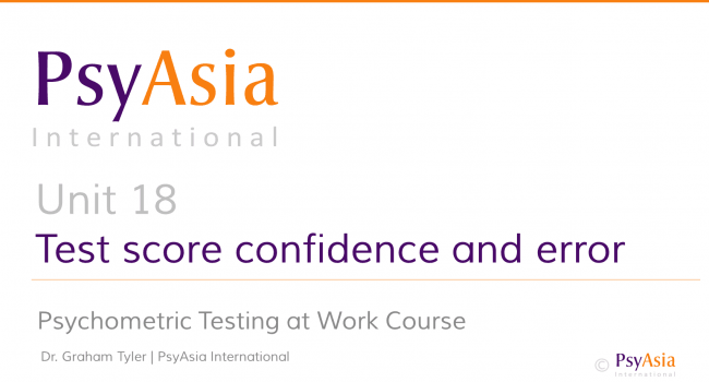 Unit 18 -Test score confidence and error
