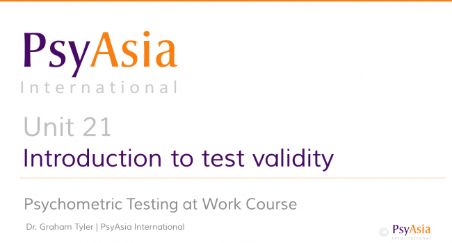 Unit 21 - Introduction to validity
