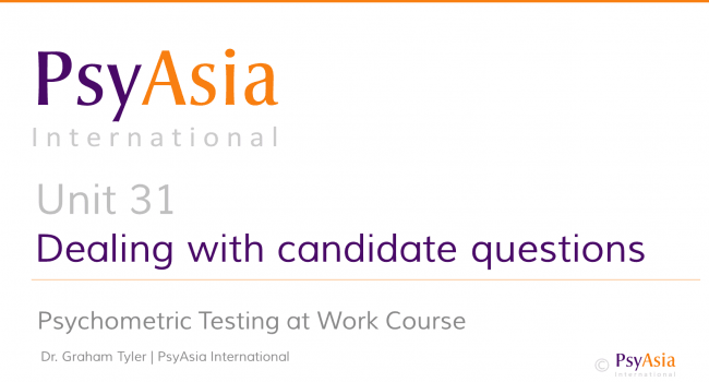 Unit 31 - Dealing with candidate questions