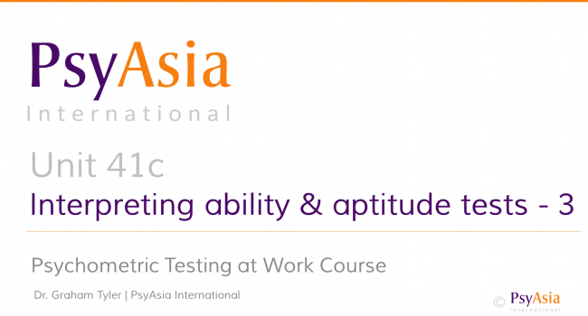 Unit 41c - Interpreting ability and aptitude tests - 3