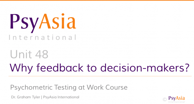 Unit 48 - Why feedback to decision-makers