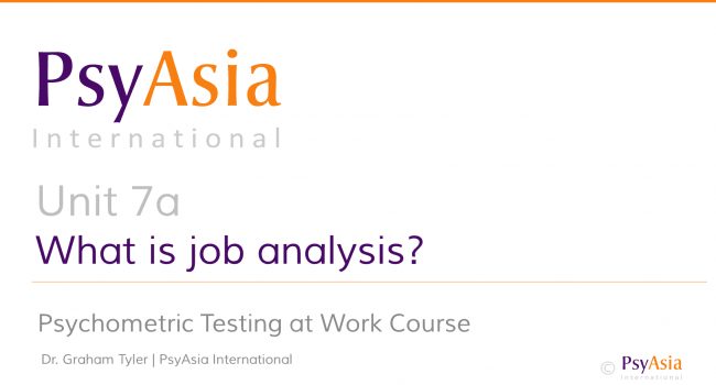 Unit 7a - What is job analysis