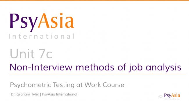 Unit 7c - Non-interview methods of job analysis